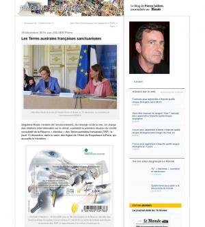 Article dans Le Monde Réserve étendue des TAAF avec le timbre anniversaire