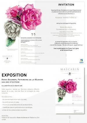 Exposition de roses anciennes au jardin botanique de  Mascarin