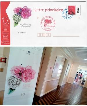 Enveloppe anniversaire et cachet pour l' Expo Roses anciennes au Jardin botanique de Mascarin
