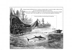 """Maquette du bloc avec 2 timbres sur la """"Pêche au thon"""""""
