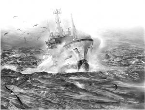 Palangrier en mer agitée