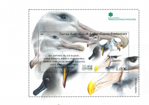"Timbre 10 ans Réserve Naturelle des TAAF  ""Portraits de six albatros"""