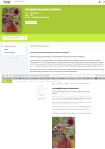 Vente de l'encyclopédie des plantes alimentaires sur sites