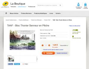 """Vente du bloc """"thonier senneur"""" TAAF 2017 avec 2 timbres  sur le site de La Poste"""